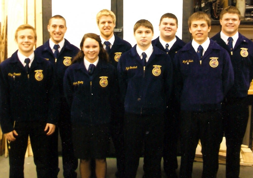 TAKES TOP COUNTY HONORS … The Edon FFA Parliamentary Procedure Team is first in Williams County and fifth in District 1 following competitions held last month.  2012-2013 team members are, from left, Clay Parrish, Alex Baker, Mariah Hantz, Ben Brown, Kyle Gearhart, David Headley, Wyatt Zulch and Matt Cook.  Advisors for the Chapter are Paul Stoll and Krista Cape.