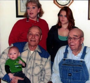 FIVE GENERATIONS … Pictured above are (front row, left to right): Larry Opdycke, great grandpa holding Trystin Mosen and Floyd Opdycke, great great grandpa. Back row: Hutoka Averitt, grandma and Mellisa Mosen, mother.